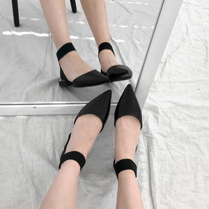 Pointed Toe Elastic Band Cross Strap Flat Sandals