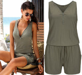 Sleeveless Playsuit Short Beach Romper