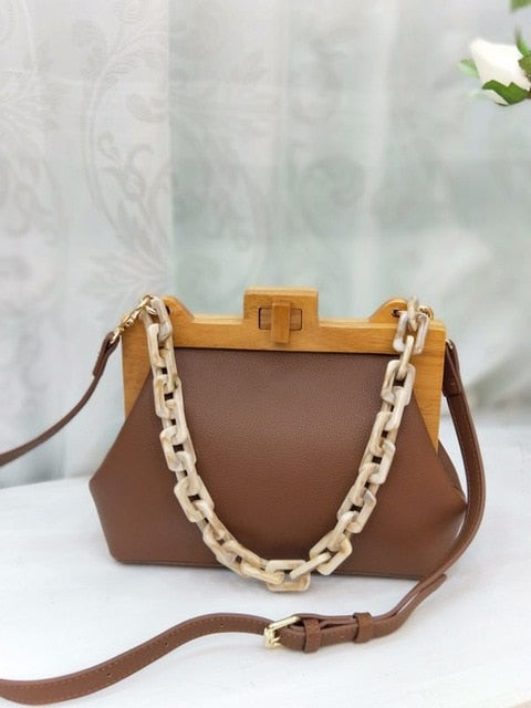 Box Bucket Wooden Clip Acrylic Chain Handbag
