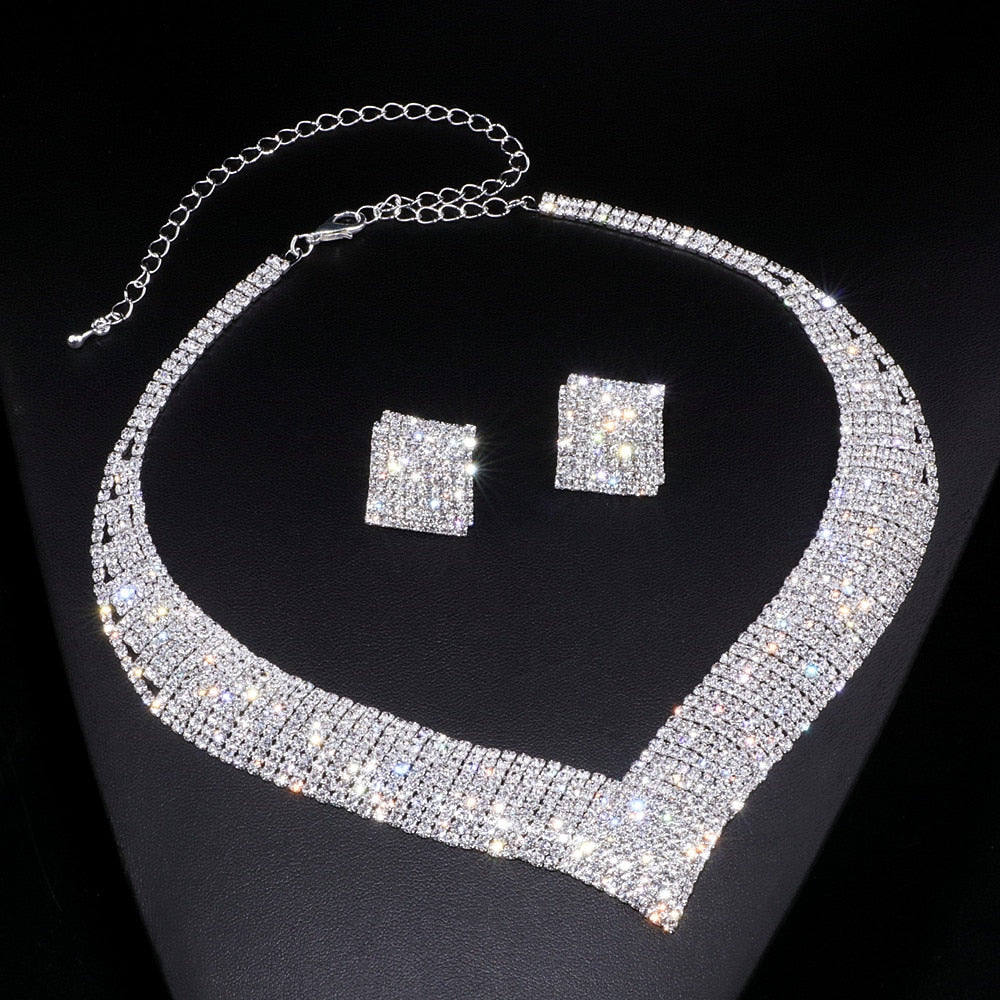Classic Clear Geometric Rhinestone Necklace/Earring Jewelry Set