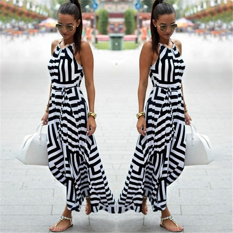 Boho Striped O Neck Spaghetti Strap Sleeveless Maxi Dress