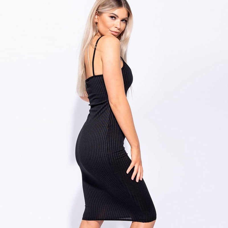Sexy High Waist V-Neck Backless Knee Bodycon Dresses
