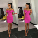 Fold Single-Breasted Bow Tie Off Shoulder Bodycon Dress