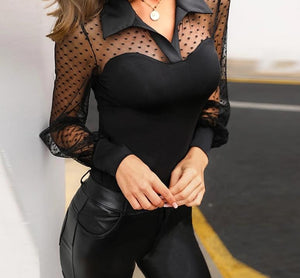 Long Sleeve Dot Sheer Mesh Blouse