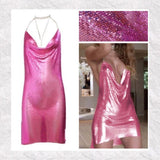 Sequin Halter Metal Glitter Bodycon Dress