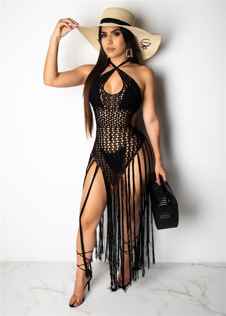 Knitted Crochet Fringe Tassel Hollow Out Long Bodycon Dress