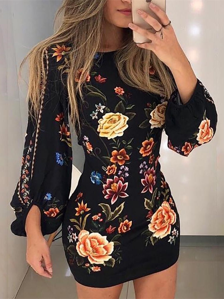 Elegant Slim Fit Leisure Bishop Sleeve Floral Bodycon Dress