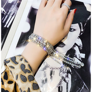 Full Shiny Rhinestone Crystal Long Tassel Bracelet Bangle