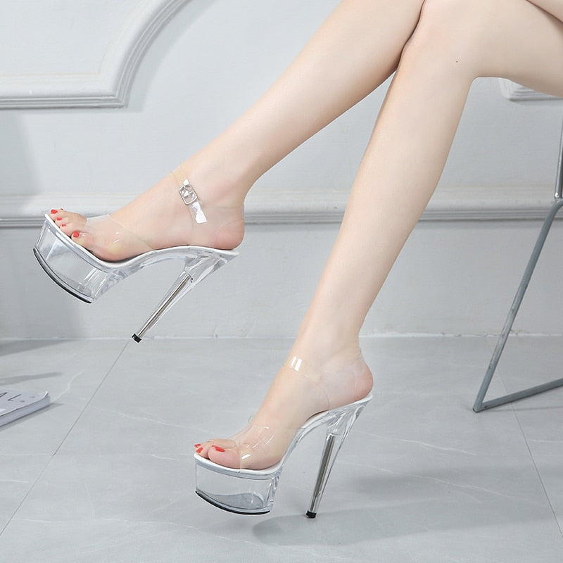 Ankle Strap Transparent Crystal High Heel