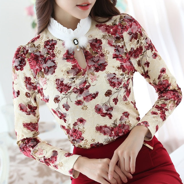 Crochet Lace Button High Collar Long Sleeve Blouse Shirt Dress