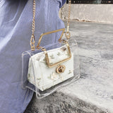 Metal Handle Transparent Clear Floral Jelly Flap Handbag