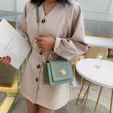 Versatile Solid Color Leather Flap Mini Bag