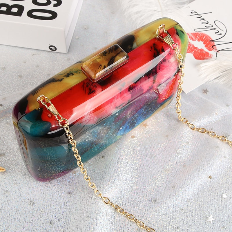 Vintage Acrylic Colorful Printing Design Clutch Bag