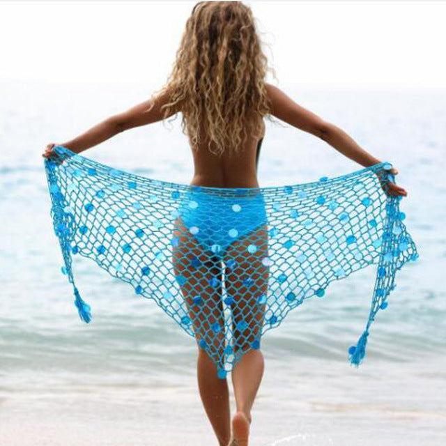 Wrap Skirt Knitted Fishnet Hollow Out Lace Up Cover Up