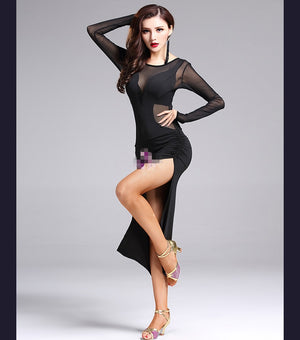 Perspective Mesh Splicing High Split O-Neck Bodycon Dress