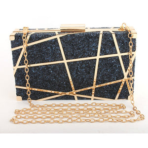 Sequined Minaudiere Shaped Metal Chain Handbag