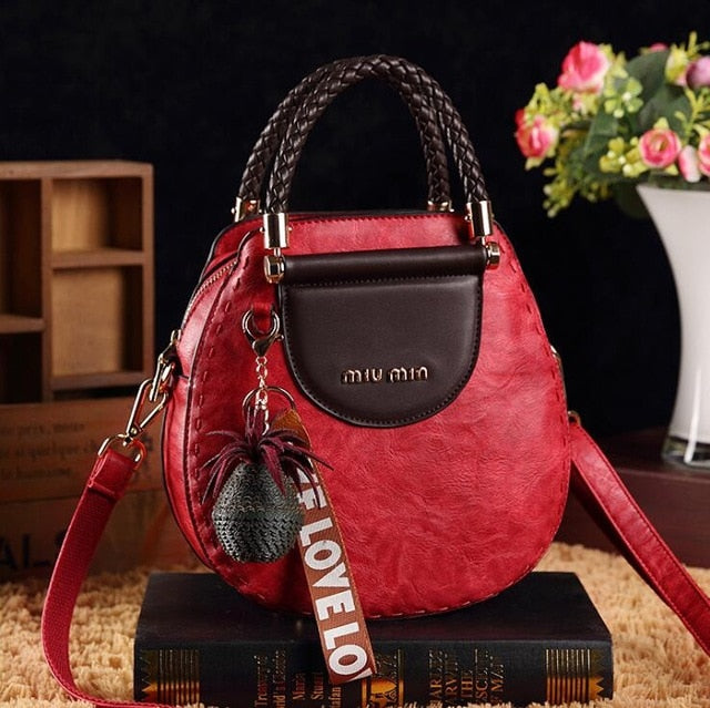 Elegant Woven Handle PU Leather Handbag
