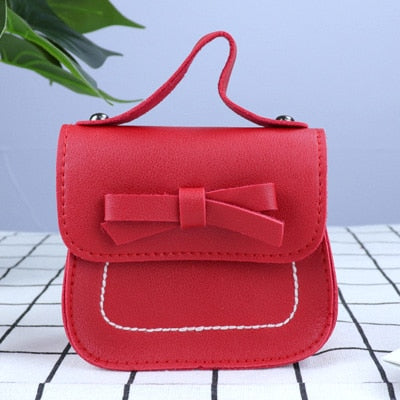 Solid Bowknot PU Leather Mini Bag