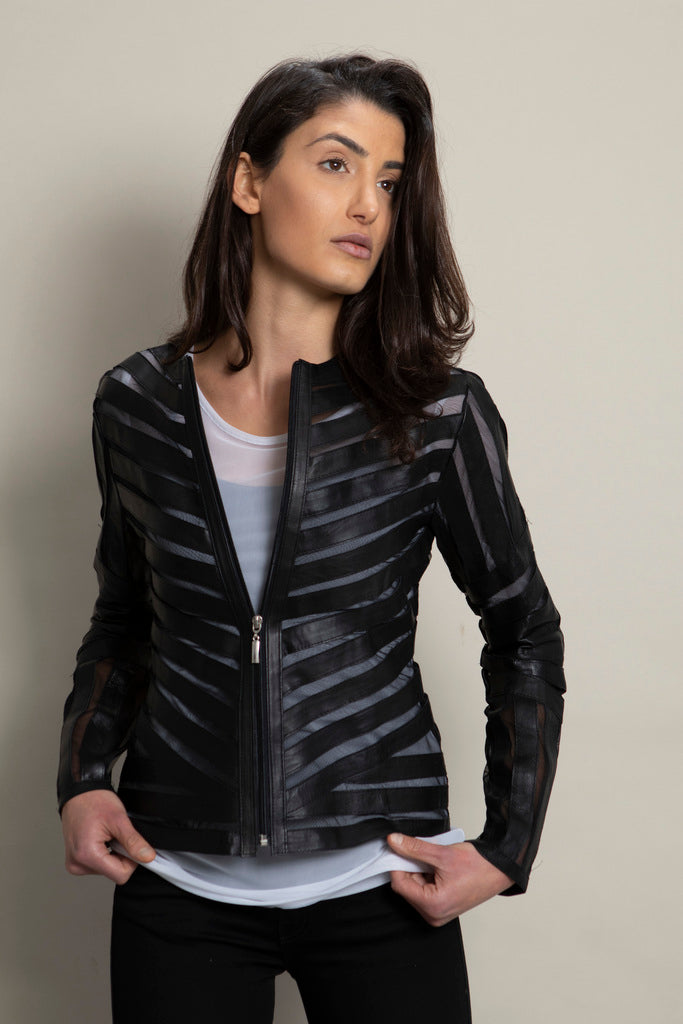 Modern Art Diagonal Leather Jacket