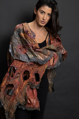 Romantic Floral  Burn Out Poncho