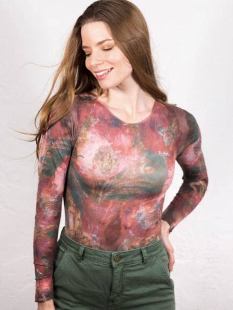 Art Moody Floral Second Skin Crew Neck Top