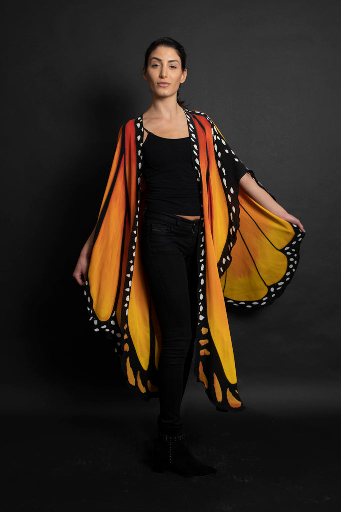 Silk-Butterfly Cape Long