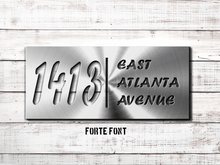"Load image into Gallery viewer, 8"" x 18"" Custom Metal Address Sign House Numbers and Street Address Sign - Choice of Font"