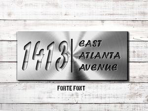 "8"" x 18"" Custom Metal Address Sign House Numbers and Street Address Sign - Choice of Font"