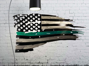 Tattered Thin Green Line Distressed American Flag For Military