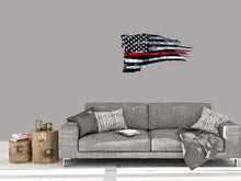 Load image into Gallery viewer, Tattered Thin Red Line Distressed American Flag For Firefighters