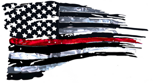 Tattered Thin Red Line Distressed American Flag For Firefighters