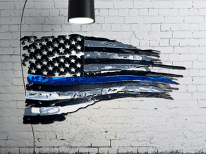 Tattered Thin Blue Line American Flag Custom Metal Wall Art / Back The Blue American Flag