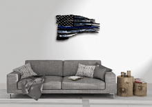 Load image into Gallery viewer, Tattered Thin Blue Line American Flag Custom Metal Wall Art / Back The Blue American Flag