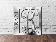 Load image into Gallery viewer, Last Name Monogram Sign, Last Name with Initial Monogram Sign, Custom Initial Sign, Personalized Last Name Sign, Metal Wall Décor Sign