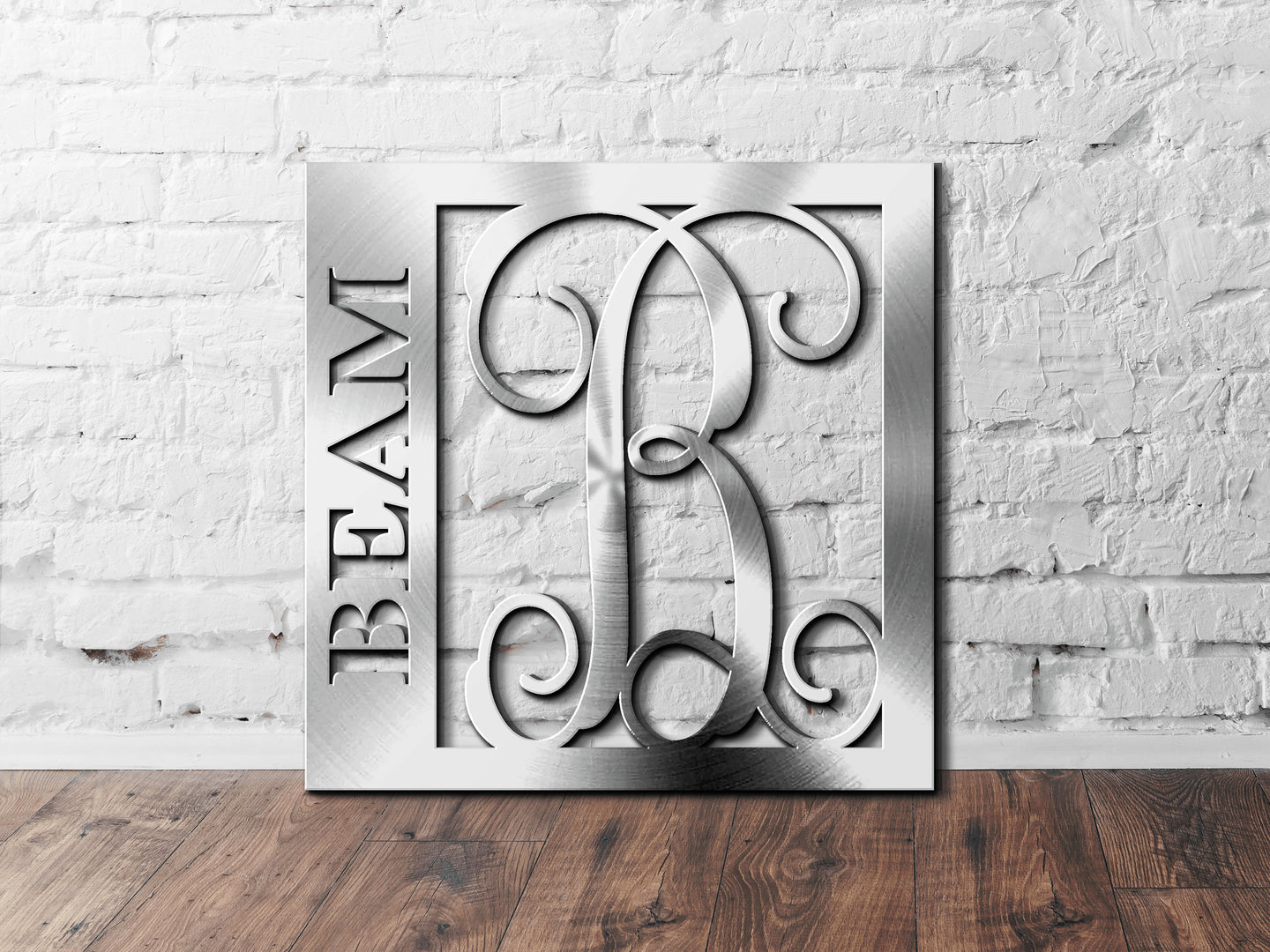 Last Name Monogram Sign, Last Name with Initial Monogram Sign, Custom Initial Sign, Personalized Last Name Sign, Metal Wall Décor Sign