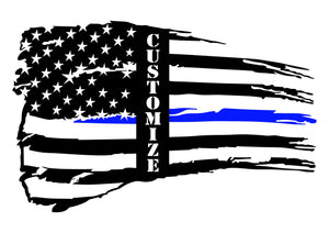 Personalized Tattered Thin Blue Line American Flag Custom Metal Wall Art