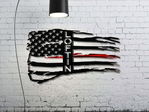 Personalized Tattered Thin Red Line American Flag Custom Metal Wall Art