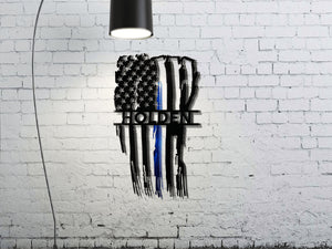 Personalized Vertical Tattered Thin Blue Line American Flag Custom Metal Wall Art