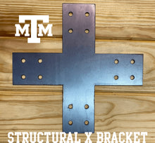 "Load image into Gallery viewer, Structural Design X Bracket for 8"" Post, 8x8 Bolt Plate, 8 Inch X Support Bracket, Pergola Bracket, 8 inch Cross Bracket 