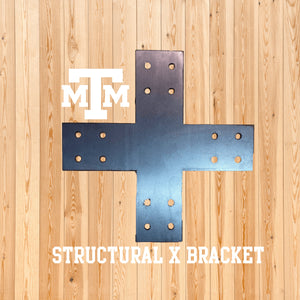 Structural Design X Bracket for 4x4 Post, 4x4 Bolt Plate, 4 Inch X Support Bracket, Steel Bracket, 4 inch Cross Bracket