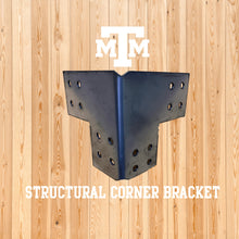 Load image into Gallery viewer, Structural Design Corner Bracket for 6x6 Post, 6x6 Corner Support Bracket, 6x6 Steel Bracket, 6 inch Post Bracket, 6x6 Corner Bracket