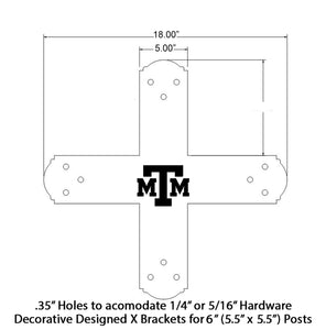 Decorative Design X Bracket for 6x6 Post, 6x6 Bolt Plate, 6 Inch X Support Bracket, Steel Bracket, 6 inch Cross Bracket