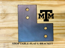 Load image into Gallery viewer, Shop Table DIY | Workbench Heavy Duty 6x6 Flat L Brackets for 6 x 6 Posts | Made In the USA!