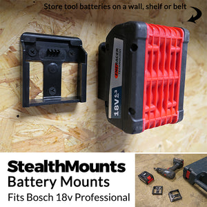6 Pack of Stealth Mounts for Bosch 18v  Battery Holder Slots Shelf Rack Stand Van Belt