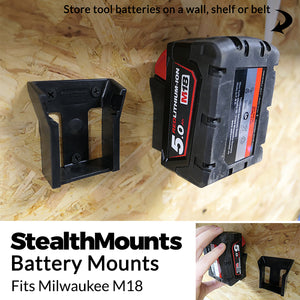 6 Pack of Stealth Mounts for Milwaukee M18 18v  Battery Holder Slots Shelf Rack Stand Van Belt
