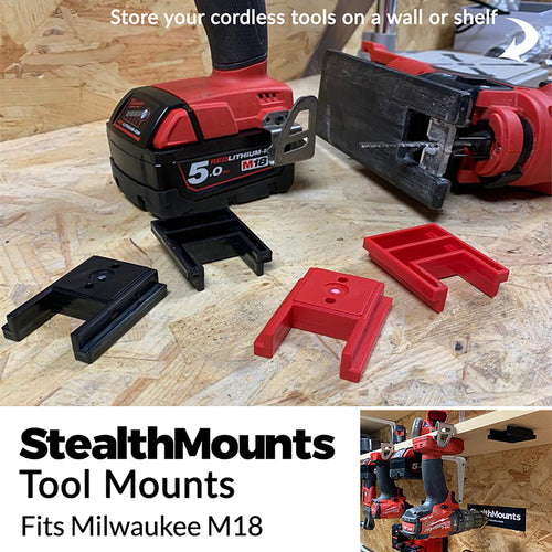 Stealth Mounts Tool Mounts for Milwaukee Tools - Milwaukee Tool Mount | Milwaukee Tool Holder | Milwaukee M18 Tool Mount