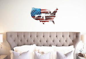"USA Shaped American Flag AR-15 Metal Wall Gun Art Patriotic 24""  USA Metal Flag"