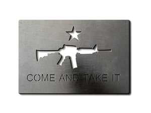 Come and Take it AR-15 Metal Flag Custom Gun Metal Wall Art 24""