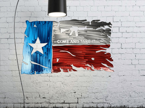 Tattered Texas Come and Take it Flag Custom Metal Wall Art 24