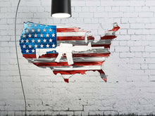 "Load image into Gallery viewer, USA Shaped American Flag AR-15 Metal Wall Gun Art Patriotic 24""  USA Metal Flag"